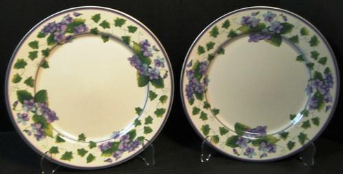 "Waverly Sweet Violet Dinner Plates 10 3/4"" Garden Room Purple Set of 2 Excellent"