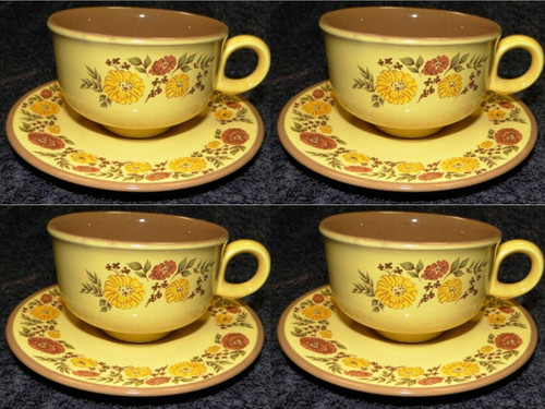 Taylor Smith Taylor Indian Summer Tea Cup Saucer Sets Yellow Brown 4 Excellent