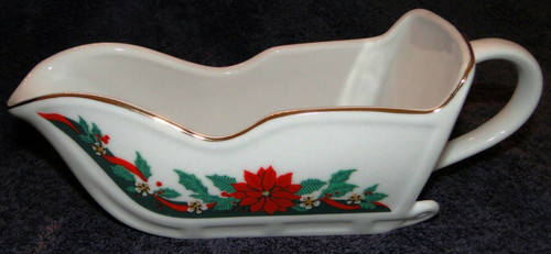 Tienshan Deck the Halls Sleigh Gravy Boat Candy Dish Poinsettia | DR Vintage Dinnerware and Replacements
