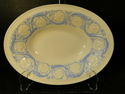 "Wedgwood Kingston Blue Oval Serving Bowl 10 1/2"" Excellent"