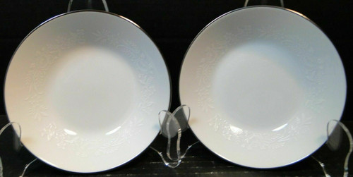 "Noritake Reina Soup Bowls 6450 Q 7 3/8"" Salad White Embossing Set of 2 