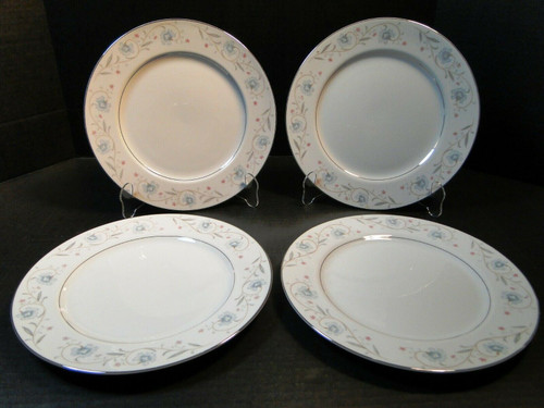 "Fine China of Japan English Garden 1221 Dinner Plates 10 1/4"" Set of 4 Excellent"