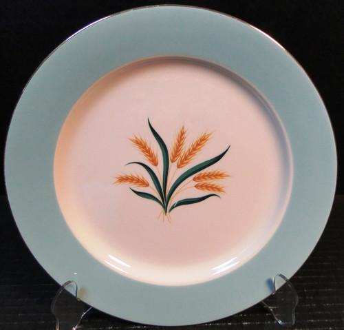"International D S Co Viking Dinner Plate 10"" Wheat Aqua 10"" Set of 2 Excellent"