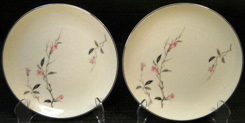 """Fine China of Japan Cherry Blossom Bread Plates 6 3/8"""" 1067 Set of 2 Excellent"""