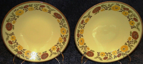 "Taylor Smith Taylor Indian Summer Soup Bowls 7 1/4"" Yellow Set of 2 Excellent"