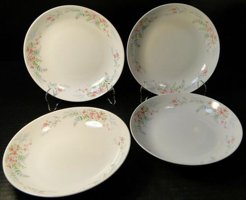 "Mikasa Fern Rose Soup Bowls 7 3/4"" L2005 Pink Set of 4 Excellent"