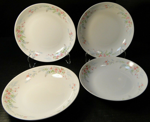 "Mikasa Fern Rose Soup Bowls 7 3/4"" L2005 Pink Set of 4 