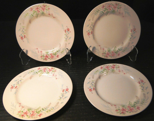 Mikasa Fern Rose Bread Plates 6 1/2  L2005 Pink Set of 4 Excellent