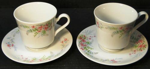 Mikasa Fern Rose Tea Cup Saucer Sets  L2005 Pink 2 Excellent