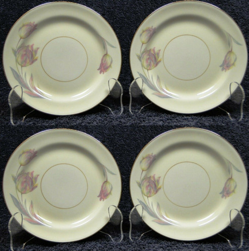 "Homer Laughlin Eggshell Nautilus Tulip Bread Plates 6 1/4"" Set of 4 