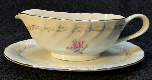 Fine China of Japan Royal Swirl Gravy Boat with UnderPlate Pink Rose | DR Vintage Dinnerware and Replacements