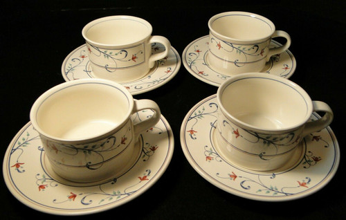 Mikasa Intaglio Annette Mugs Cups Saucers CAC20 Set of 4 | DR Vintage Dinnerware and Replacements