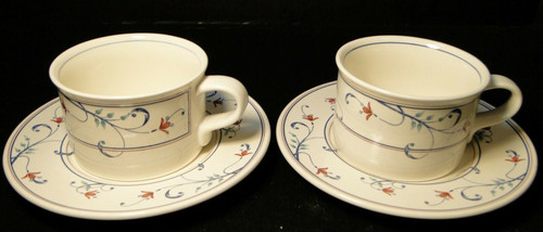 Mikasa Intaglio Annette Mugs Cups Saucers CAC20 Set of 2 Excellent