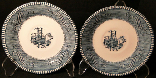 Royal China Currier Ives Saucers Low Water Riverboat with Mark Set 2 Excellent