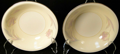 "Homer Laughlin Eggshell Nautilus Tulip Cereal Bowls 6"" Coupe Set of 2 Excellent"