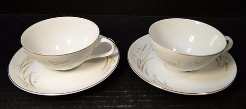 Fine China of Japan Golden Harvest Tea Cup Saucer Sets 2 | DR Vintage Dinnerware Replacements
