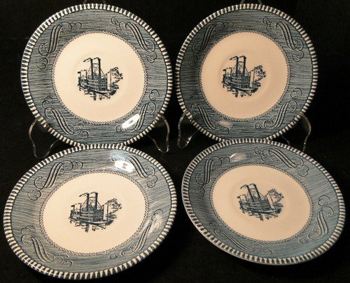 Royal China Currier Ives Saucers Low Water Riverboat with Mark Set 4 Excellent