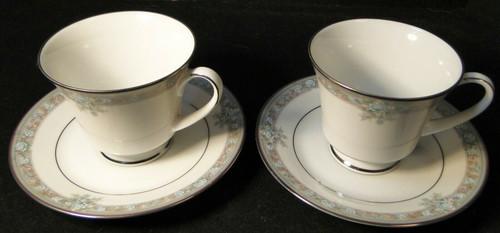 Noritake Lunceford Tea Cup Saucer Sets 3884 Legendary 2 Excellent