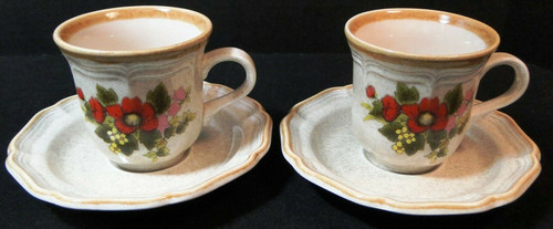 Mikasa Basket of Wildflowers Tea Cup Saucer Sets EC 403 2 Excellent