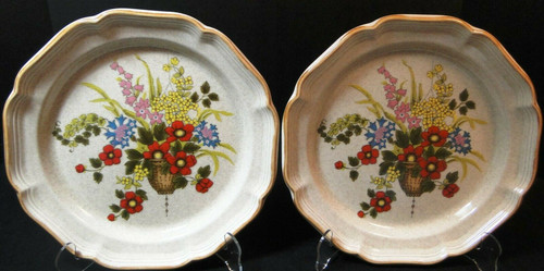"""Mikasa Basket of Wildflowers Dinner Plates 10 3/4"""" EC 403 Set of 2 
