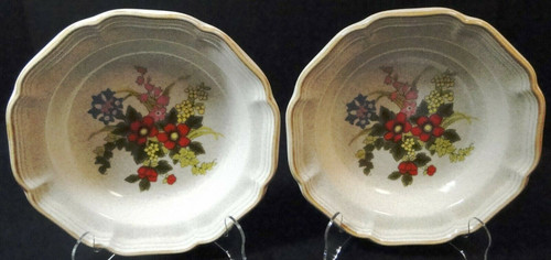 "Mikasa Basket of Wildflowers Soup Bowls 8 1/2"" EC 403 Salad Set of 2 