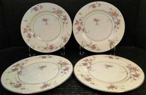 Theodore Haviland NY Gloria Salad Plates 8 1/4 Yellow Pink Roses Set 4 Excellent