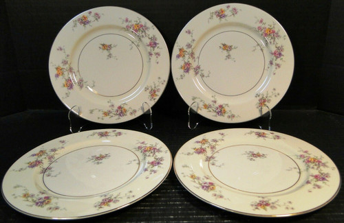 Theodore Haviland NY Gloria Salad Plates 8 1/4 Yellow Pink Roses Set 4 | DR Vintage Dinnerware and Replacements