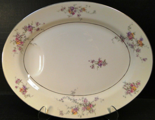 """Theodore Haviland NY Gloria Oval Serving Platter 14"""" Pink Yellow Roses Excellent"""