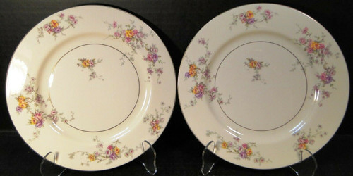 Theodore Haviland NY Gloria Salad Plates 8 1/4 Yellow Pink Roses Set 2 | DR Vintage Dinnerware and Replacements