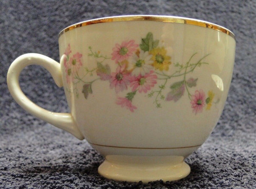 Homer Laughlin Eggshell Nautilus N1669 Tea Cup Pink Yellow Daisies Excellent