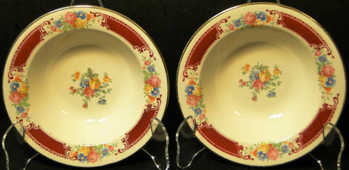 """Homer Laughlin Brittany Majestic Berry Bowls 5 3/4"""" W538 Set of 2 Excellent"""