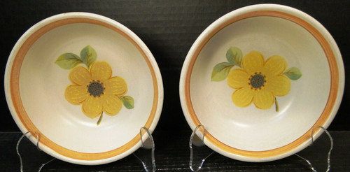 """Royal Doulton Summer Days Cereal Bowls 6 1/4"""" LS 1002 Yellow Set of 2 Excellent"""