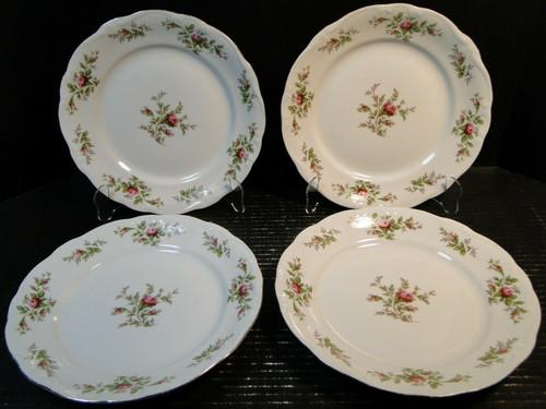 "Johann Haviland Bavaria Moss Rose Salad Plates 7 3/4"" Set of 4 Excellent"