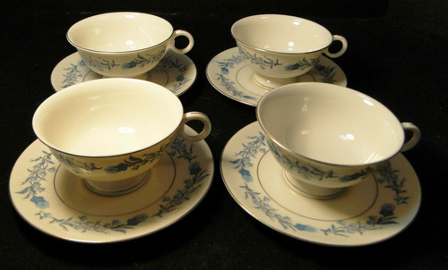 Theodore Haviland NY Clinton Tea Cup Saucer Sets Blue Flowers 4 Excellent