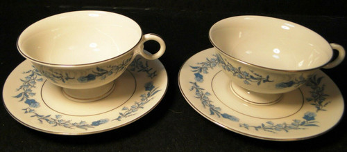 Theodore Haviland NY Clinton Tea Cup Saucer Sets Blue Flowers 2 | DR Vintage Dinnerware and Replacements