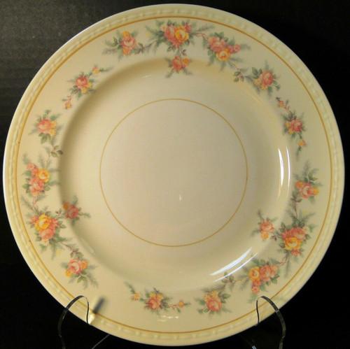 "Homer Laughlin Georgian G3370 Dinner Plate 9 7/8"" Yellow Roses Rare Excellent"