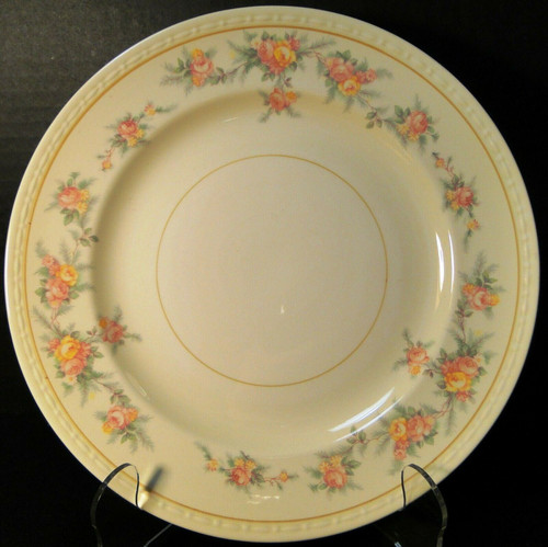 """Homer Laughlin Georgian G3370 Dinner Plate 9 7/8"""" Yellow Roses Rare 