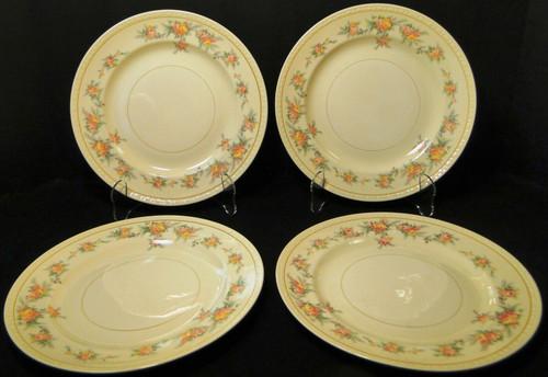 """Homer Laughlin Georgian G3370 Dinner Plates 9 7/8"""" Roses Rare Set of 4 Excellent"""