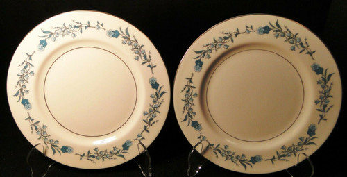 """Theodore Haviland NY Clinton Salad Plates 7 1/2"""" Blue Flowers Set of 2 Excellent"""