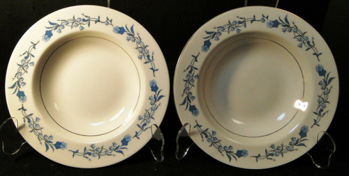 "Theodore Haviland NY Clinton Soup Bowls 7 7/8"" Blue Flowers Set of 2 
