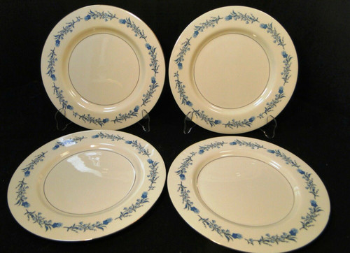"Theodore Haviland NY Clinton Dinner Plates 10 1/4"" Blue Flowers Set 4 