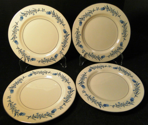 """Theodore Haviland NY Clinton Bread Plates 6 3/4"""" Blue Flowers Set of 4 Excellent"""