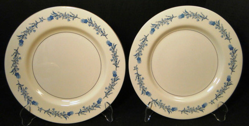"Theodore Haviland NY Clinton Dinner Plates 10 1/4"" Blue Flowers Set 2 