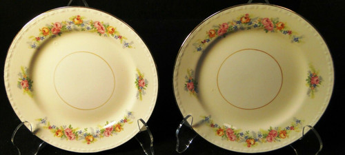"Homer Laughlin Georgian G3523 Bread Plates 6 1/4"" Pink Roses Set of 2 