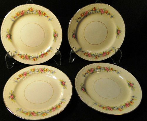 "Homer Laughlin Georgian G3523 Bread Plates 6 1/4"" Pink Roses Set of 4 