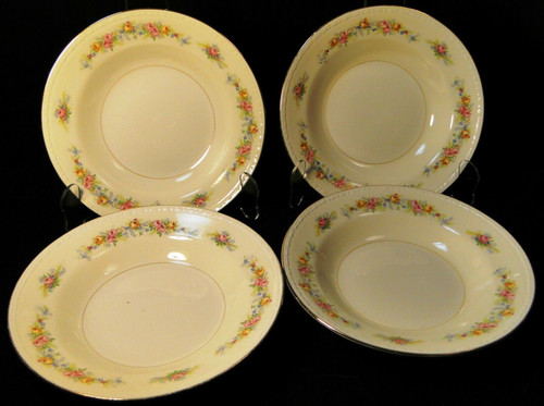"""Homer Laughlin Georgian G3523 Soup Bowls 8 1/4"""" Pink Roses Set of 4 