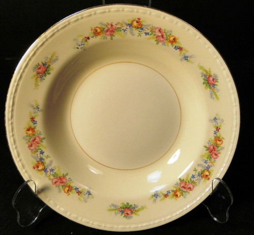 "Homer Laughlin Georgian G3523 Soup Bowl 8 1/4"" Pink Roses 