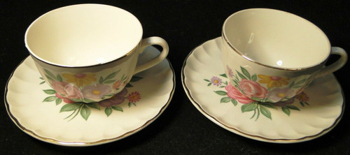 W S George Bolero Romance Tea Cup Saucer Sets Pink Purple Set of 2 | DR Vintage Dinnerware and Replacements