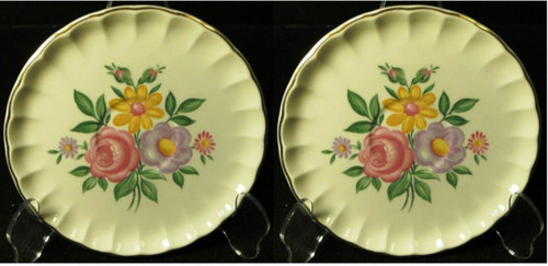 "W S George Bolero Romance Saucers 6"" Pink Purple Set of 2 Excellent"