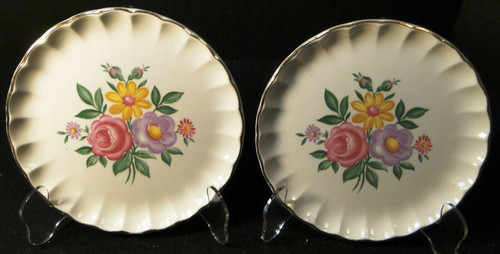 """W S George Bolero Romance Bread Plates 6 1/4"""" Pink Purple Set of 2 